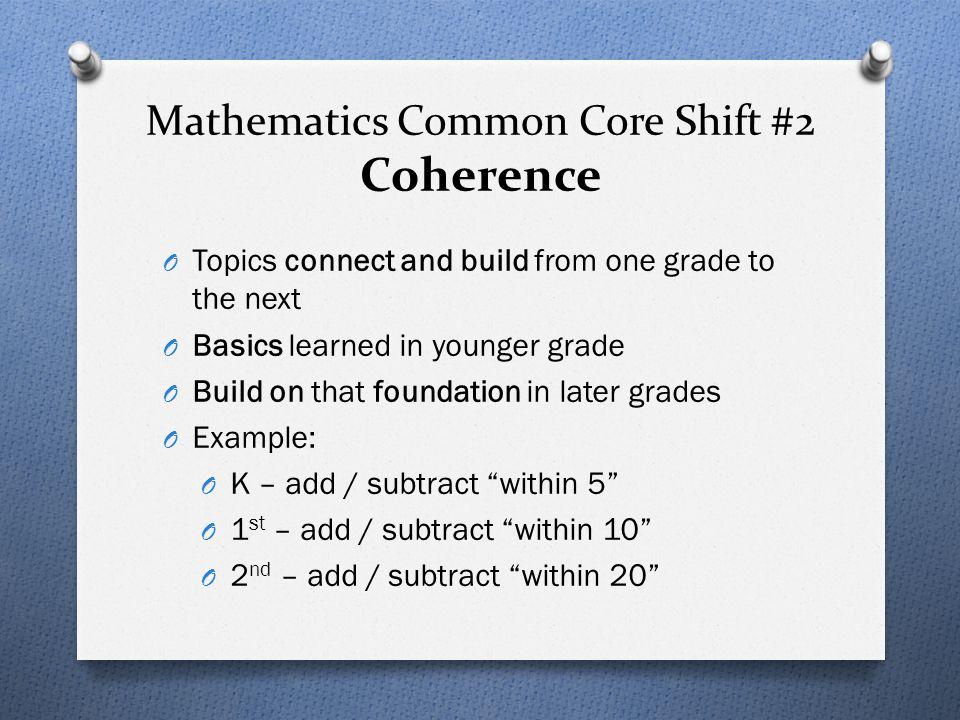 Mathematics Common Core Shift #2 Coherence