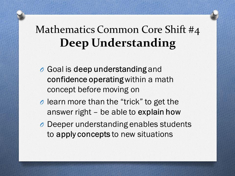 Mathematics Common Core Shift #4 Deep Understanding