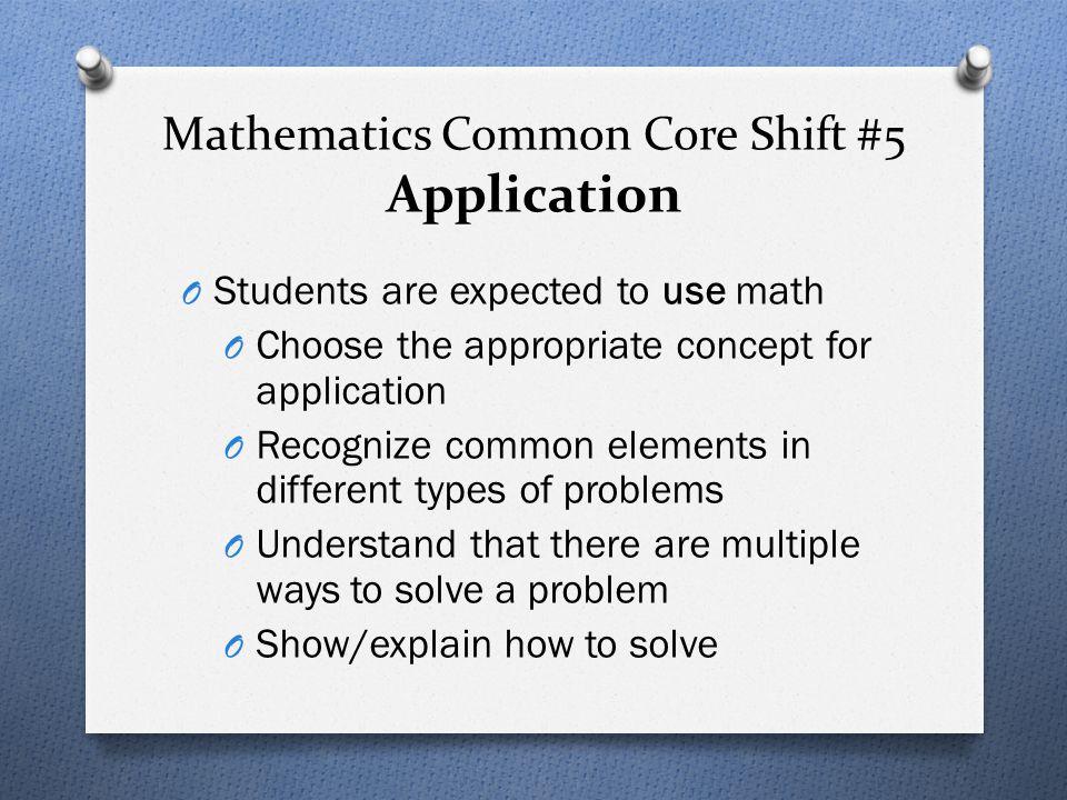 Mathematics Common Core Shift #5 Application
