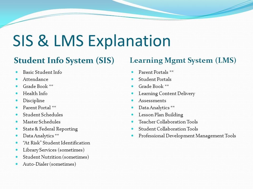 SIS & LMS Explanation Student Info System (SIS)
