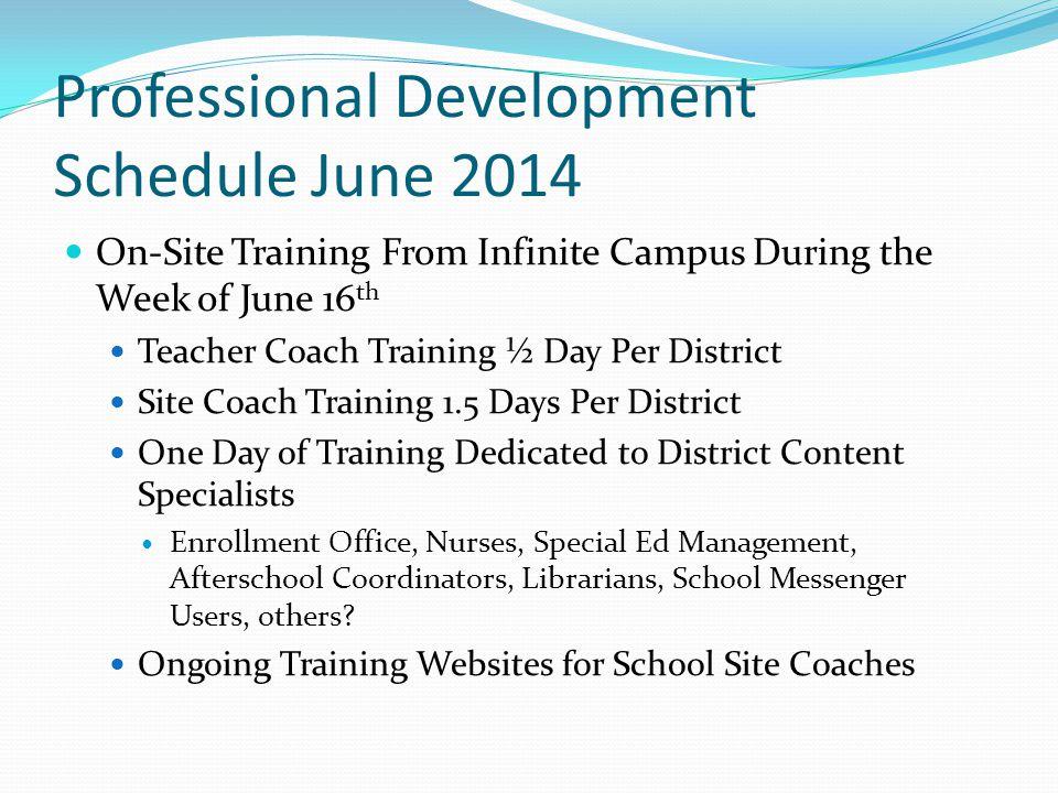 Professional Development Schedule June 2014