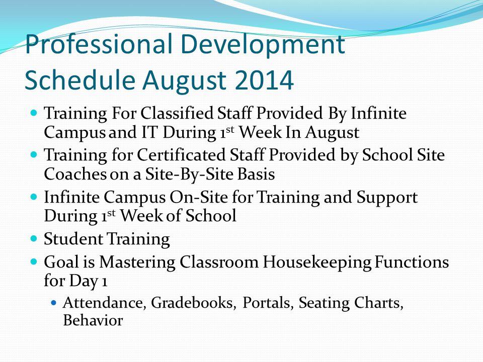 Professional Development Schedule August 2014