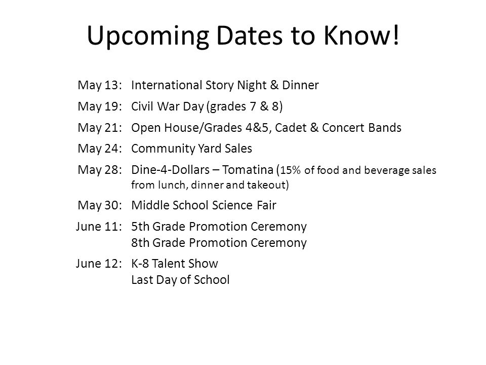 Upcoming Dates to Know! May 13: International Story Night & Dinner