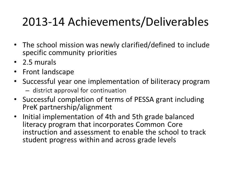 2013-14 Achievements/Deliverables