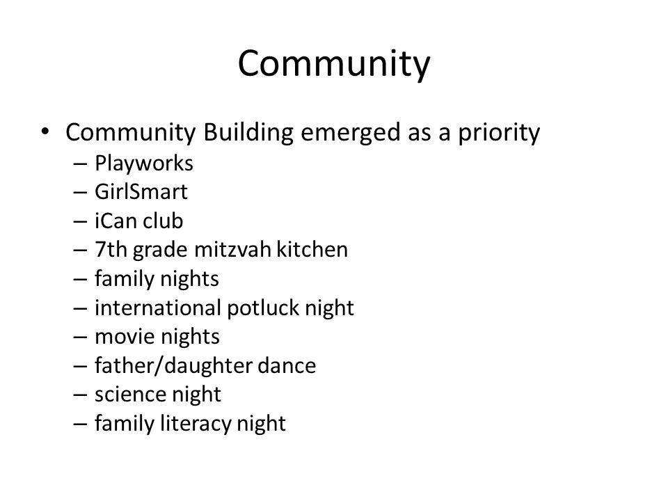 Community Community Building emerged as a priority Playworks GirlSmart