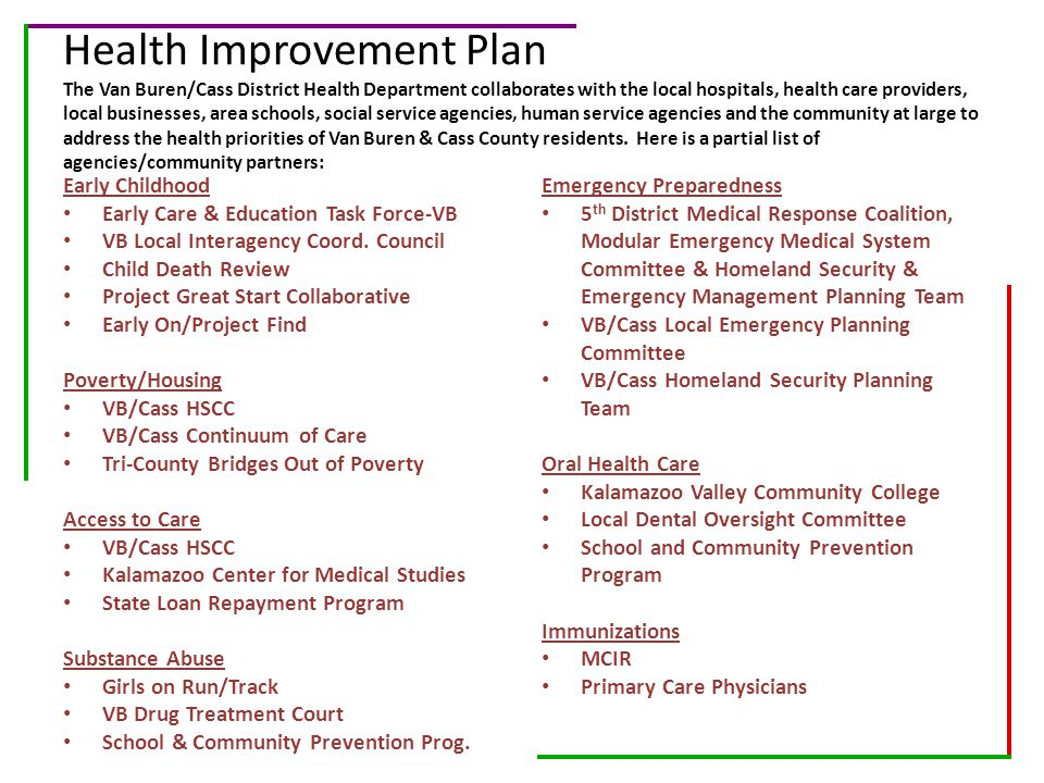 Health Improvement Plan The Van Buren/Cass District Health Department collaborates with the local hospitals, health care providers, local businesses, area schools, social service agencies, human service agencies and the community at large to address the health priorities of Van Buren & Cass County residents. Here is a partial list of agencies/community partners: