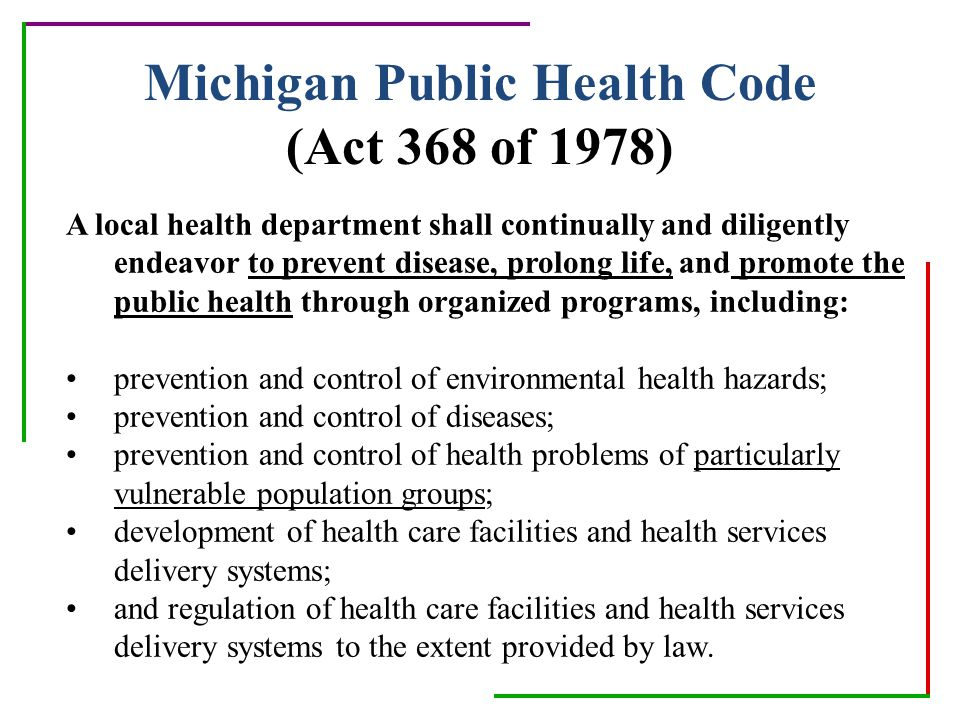 Michigan Public Health Code (Act 368 of 1978)
