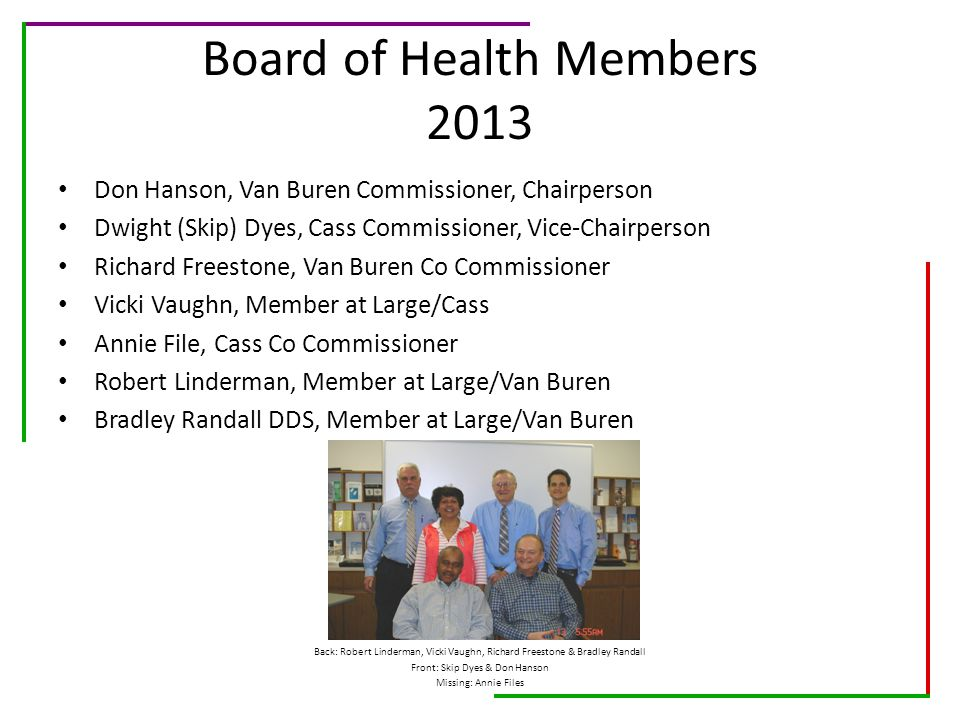 Board of Health Members 2013