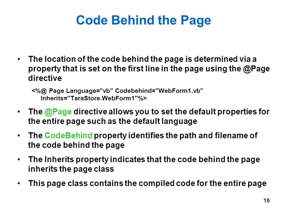 Code Behind the Page