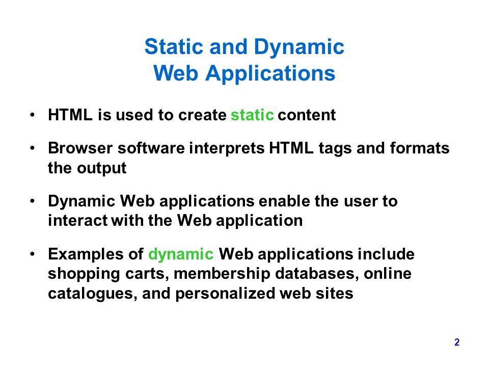 Static and Dynamic Web Applications