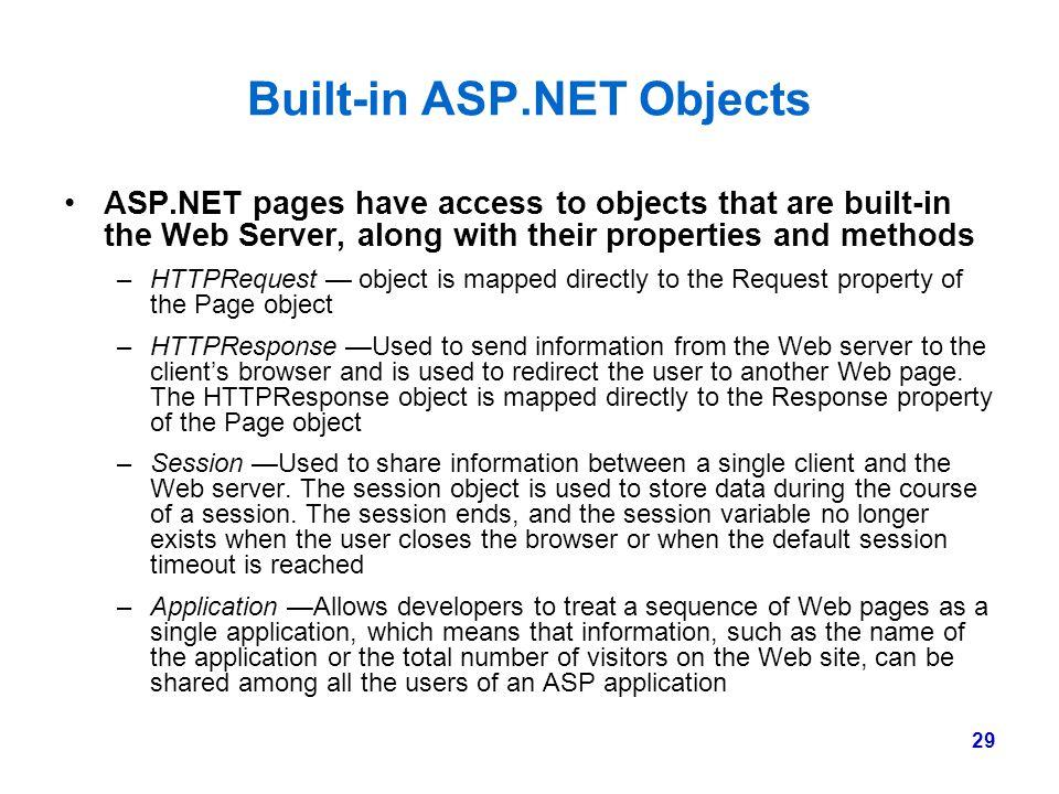 Built-in ASP.NET Objects