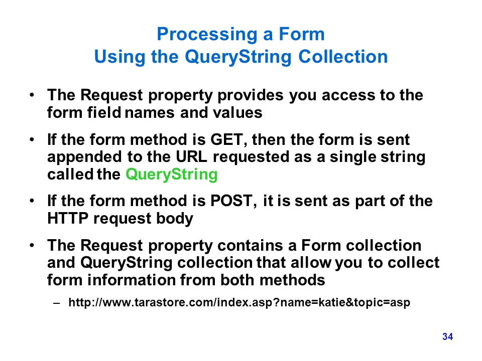 Processing a Form Using the QueryString Collection