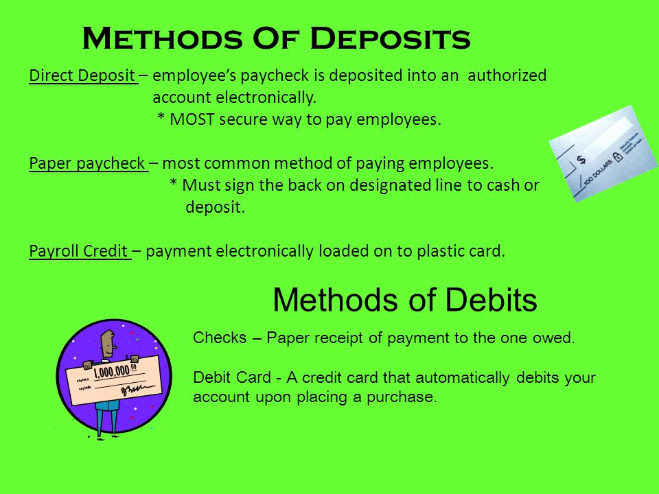 Methods Of Deposits Methods of Debits