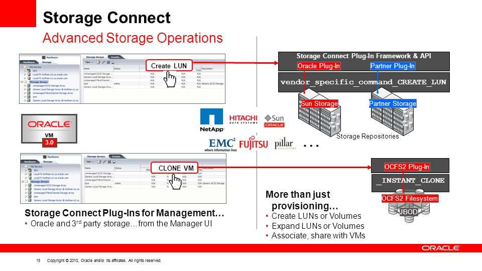 Storage Connect Advanced Storage Operations