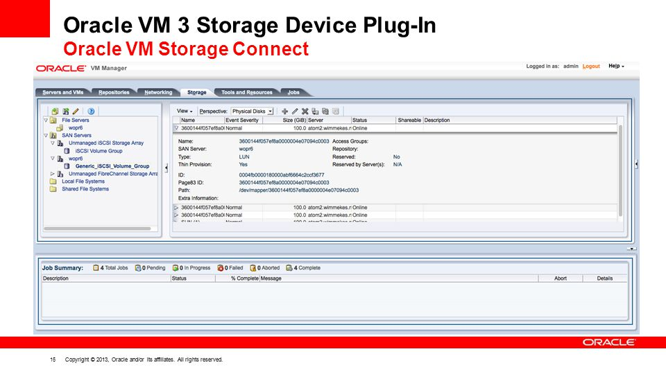 Oracle VM 3 Storage Device Plug-In Oracle VM Storage Connect