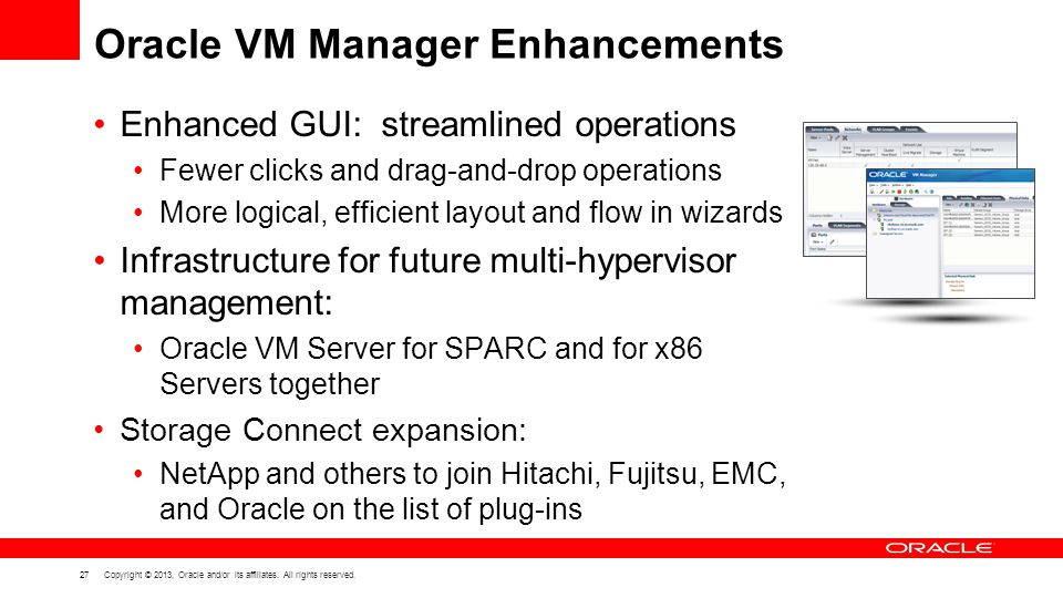 Oracle VM Manager Enhancements