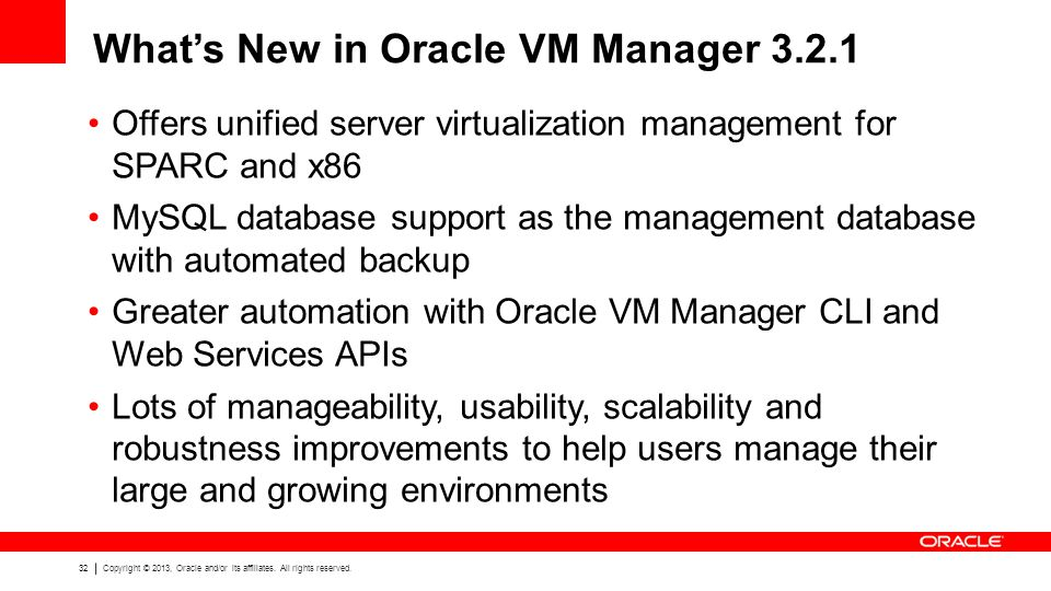 What's New in Oracle VM Manager 3.2.1