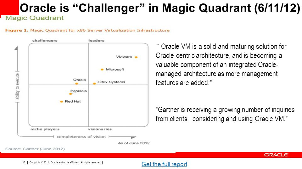 Oracle is Challenger in Magic Quadrant (6/11/12)