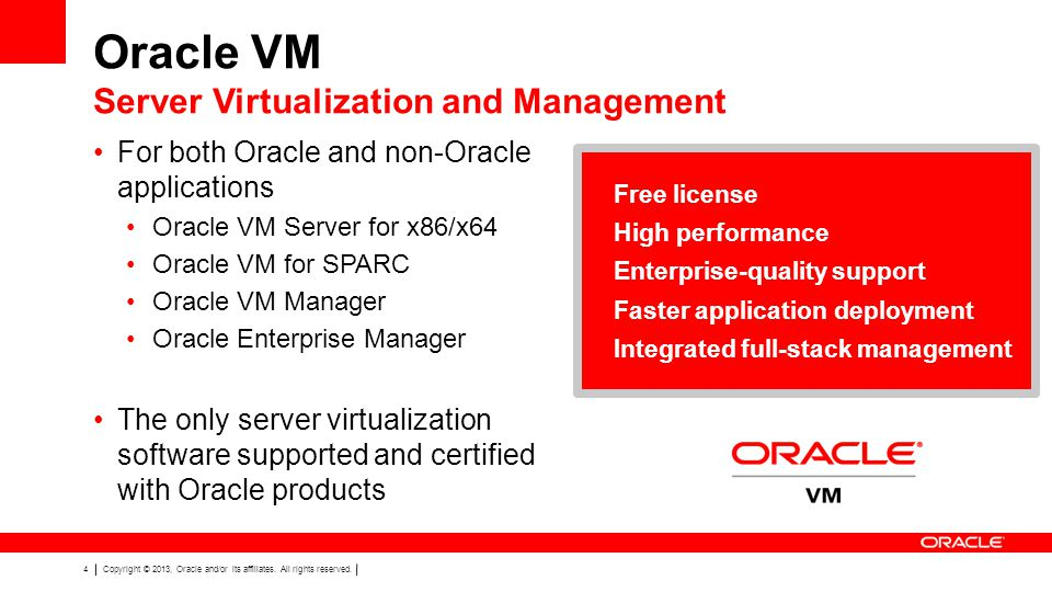 Oracle VM Server Virtualization and Management