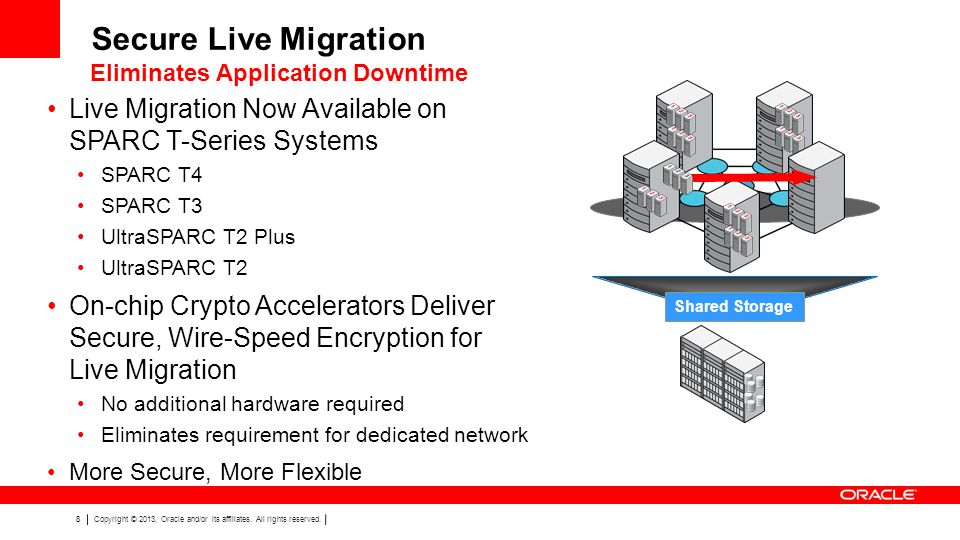 Secure Live Migration Eliminates Application Downtime. Live Migration Now Available on SPARC T-Series Systems.