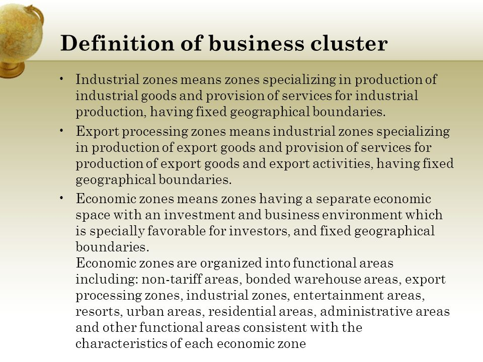 Definition of business cluster