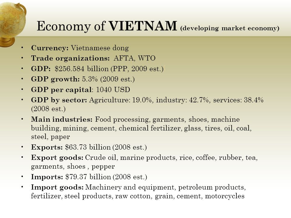 Economy of VIETNAM (developing market economy)