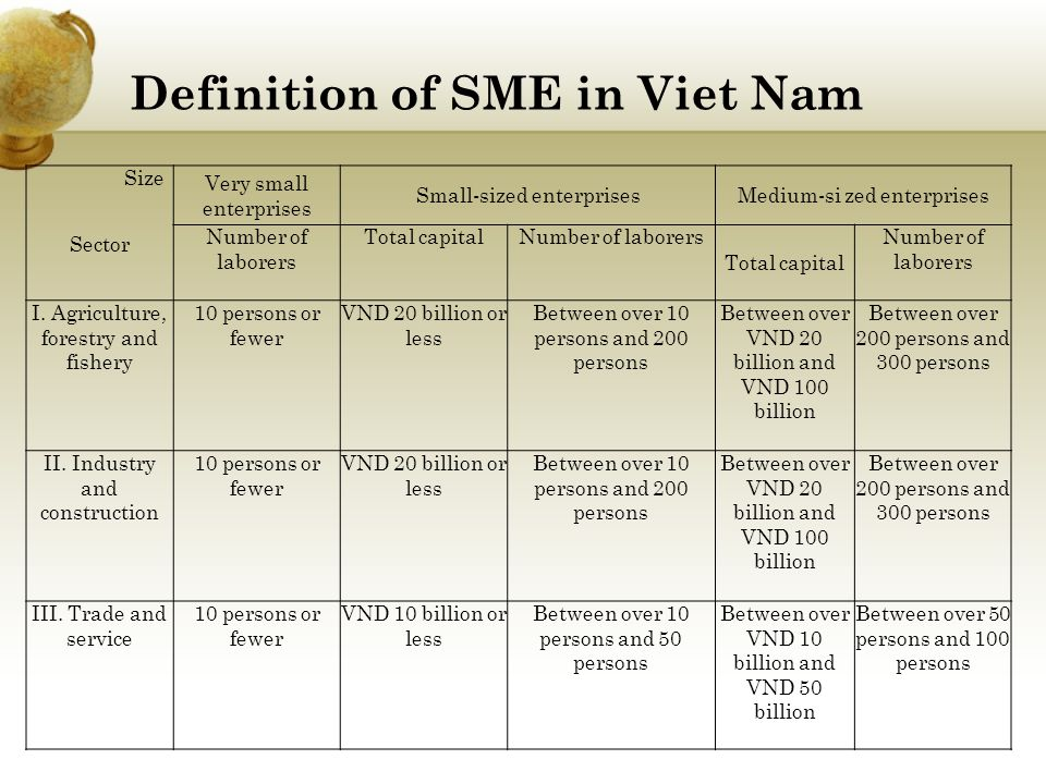 Definition of SME in Viet Nam