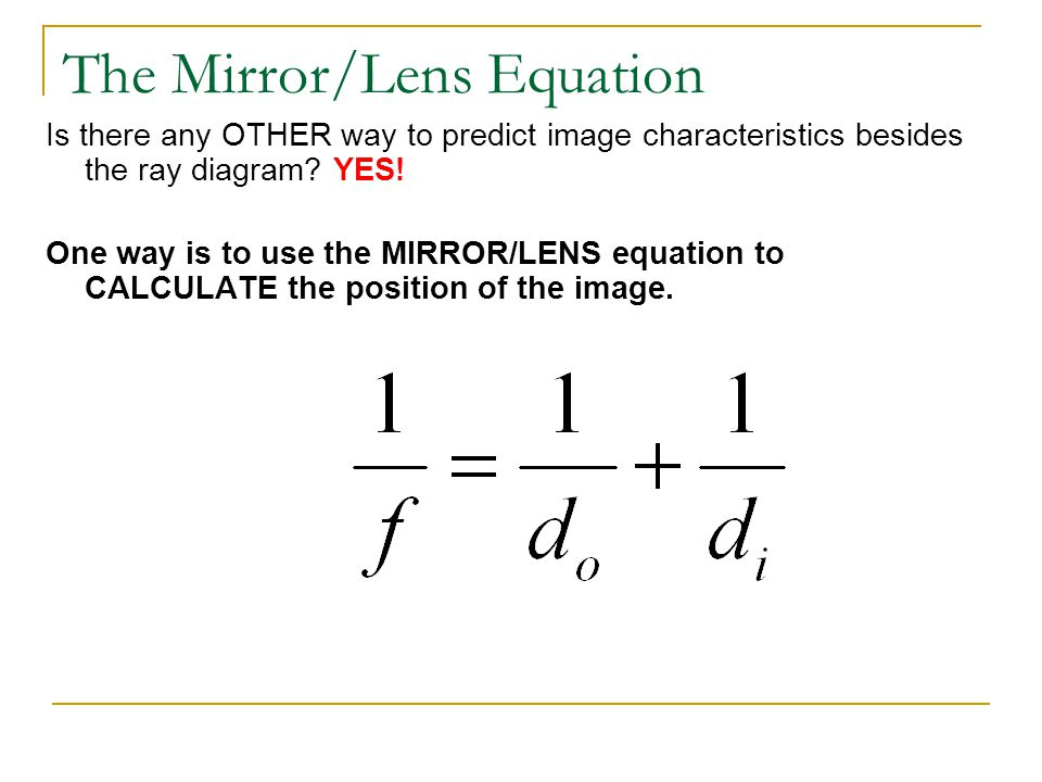 The Mirror/Lens Equation
