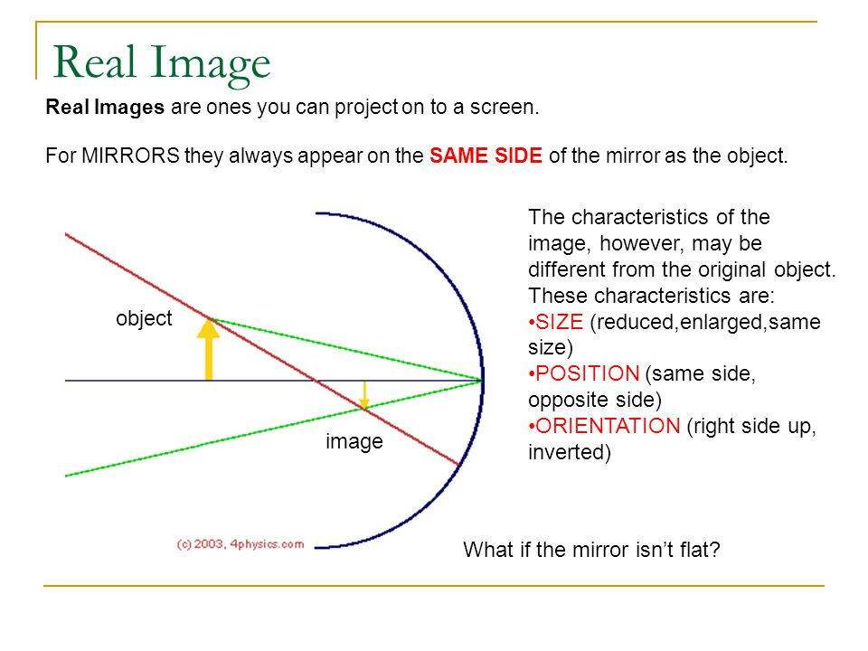 Real Image Real Images are ones you can project on to a screen. For MIRRORS they always appear on the SAME SIDE of the mirror as the object.