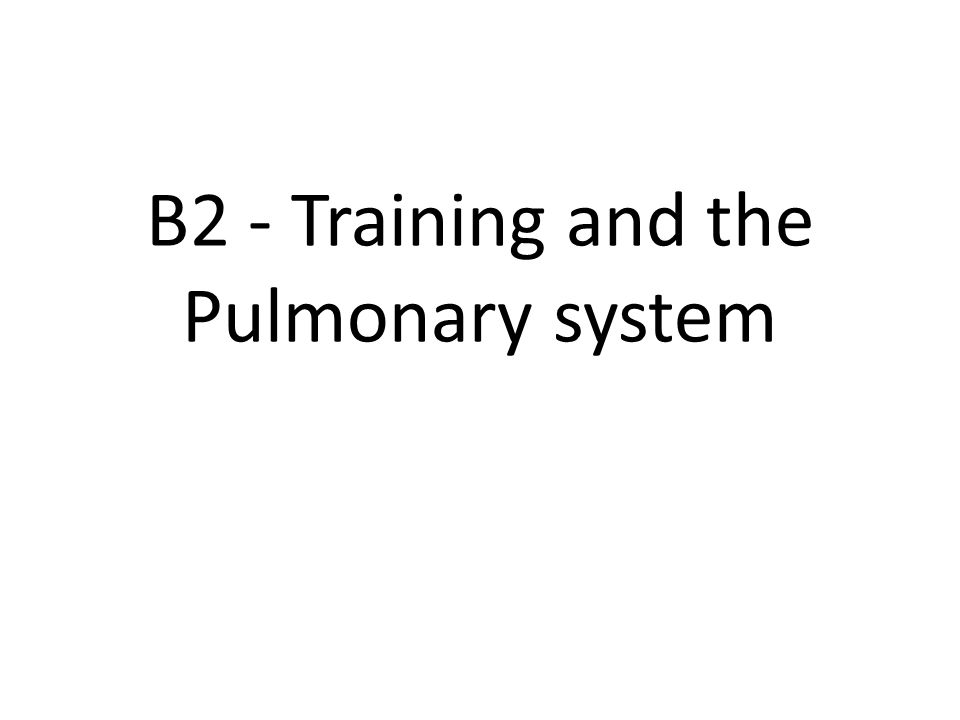 B2 - Training and the Pulmonary system
