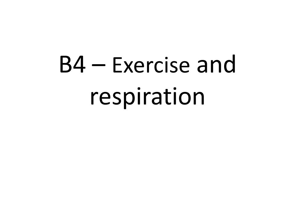 B4 – Exercise and respiration