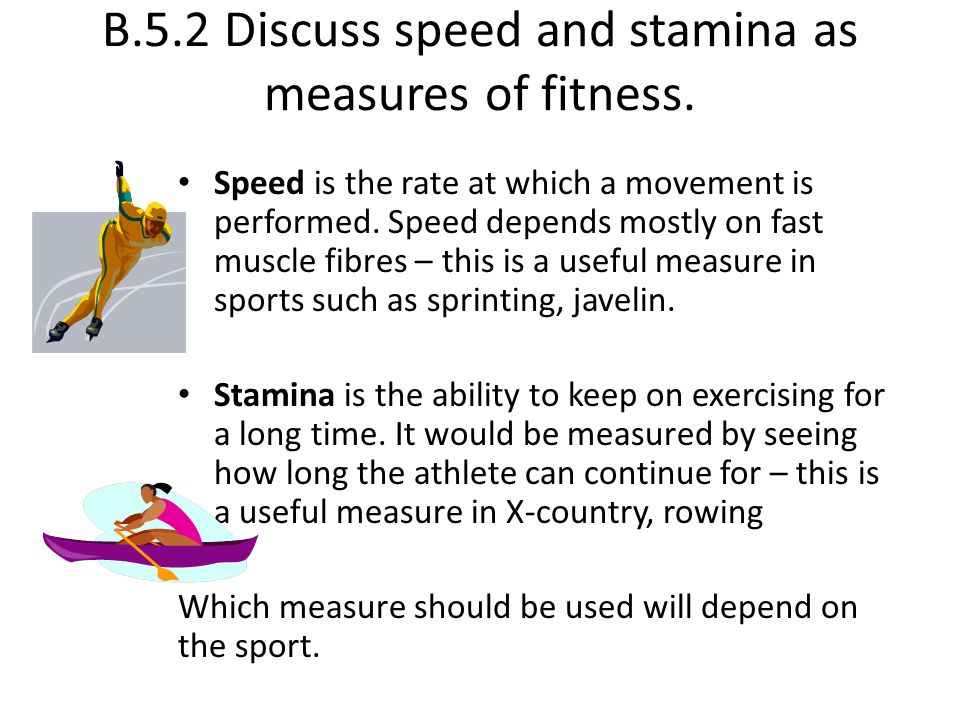 B.5.2 Discuss speed and stamina as measures of fitness.