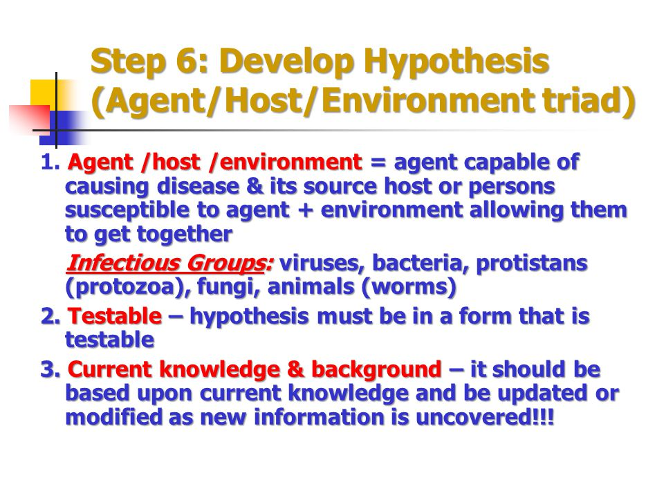 Step 6: Develop Hypothesis (Agent/Host/Environment triad)