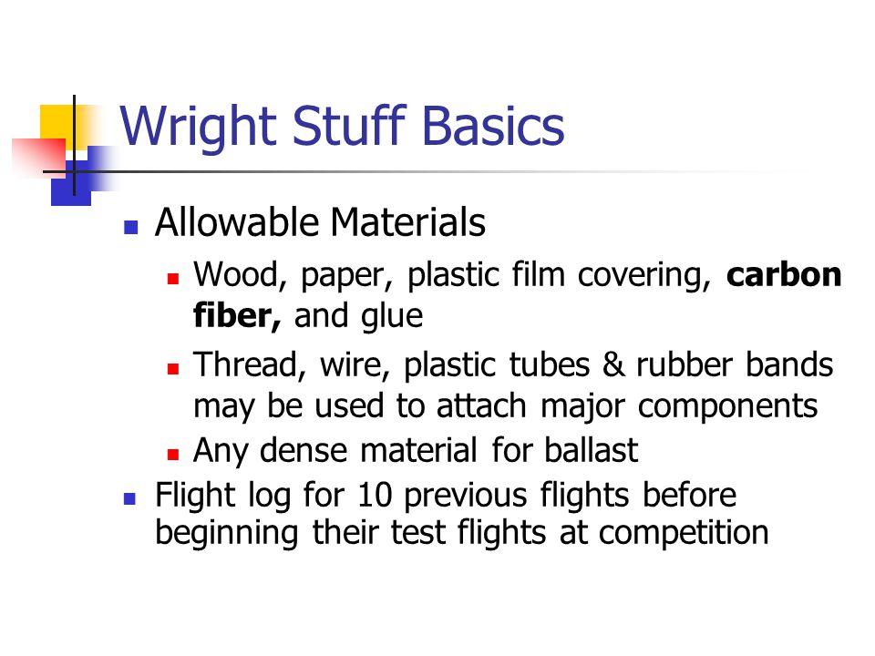 Wright Stuff Basics Allowable Materials