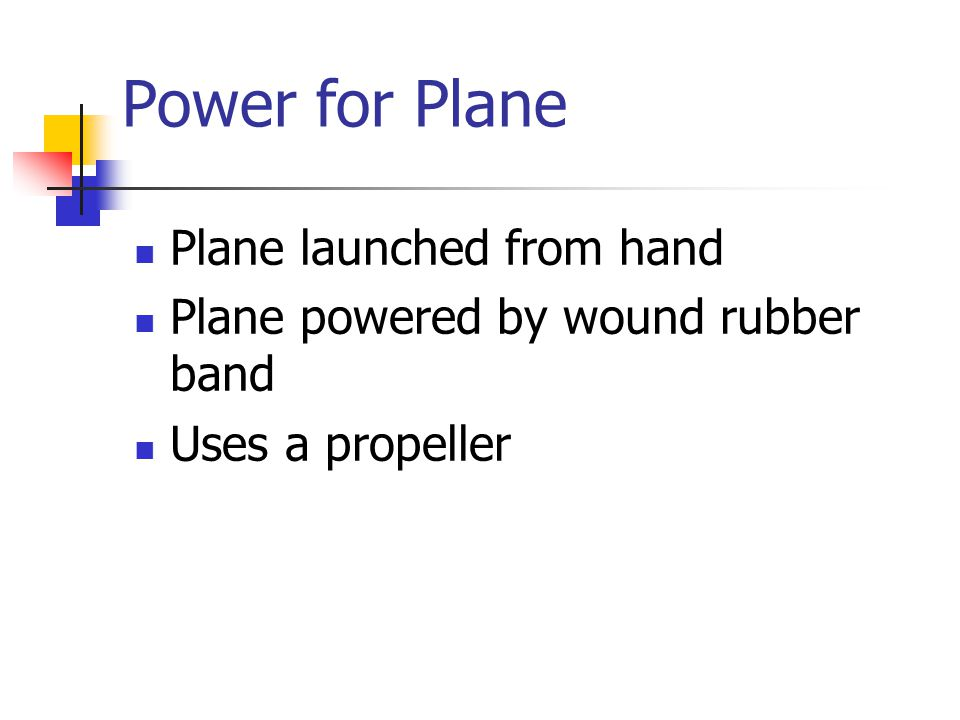 Power for Plane Plane launched from hand