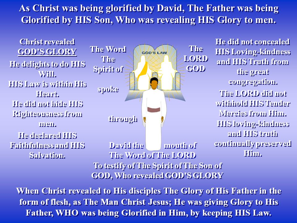 As Christ was being glorified by David, The Father was being Glorified by HIS Son, Who was revealing HIS Glory to men.