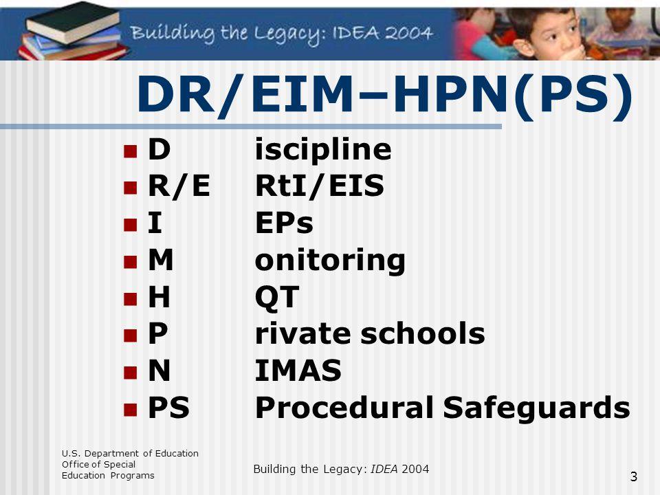 DR/EIM–HPN(PS) D iscipline R/E RtI/EIS I EPs M onitoring H QT