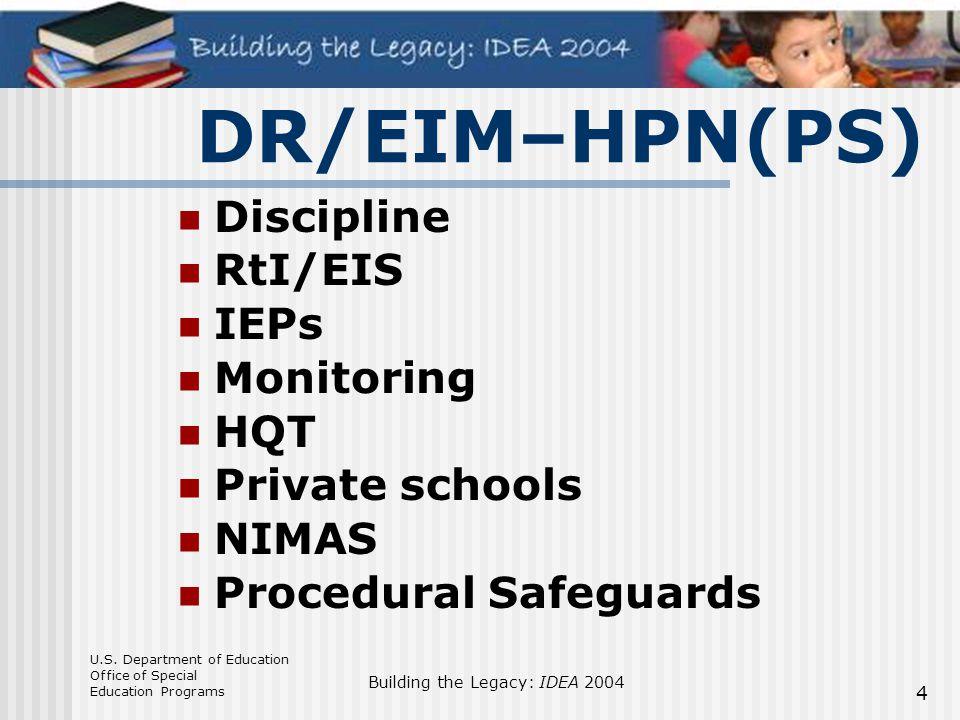 DR/EIM–HPN(PS) Discipline RtI/EIS IEPs Monitoring HQT Private schools