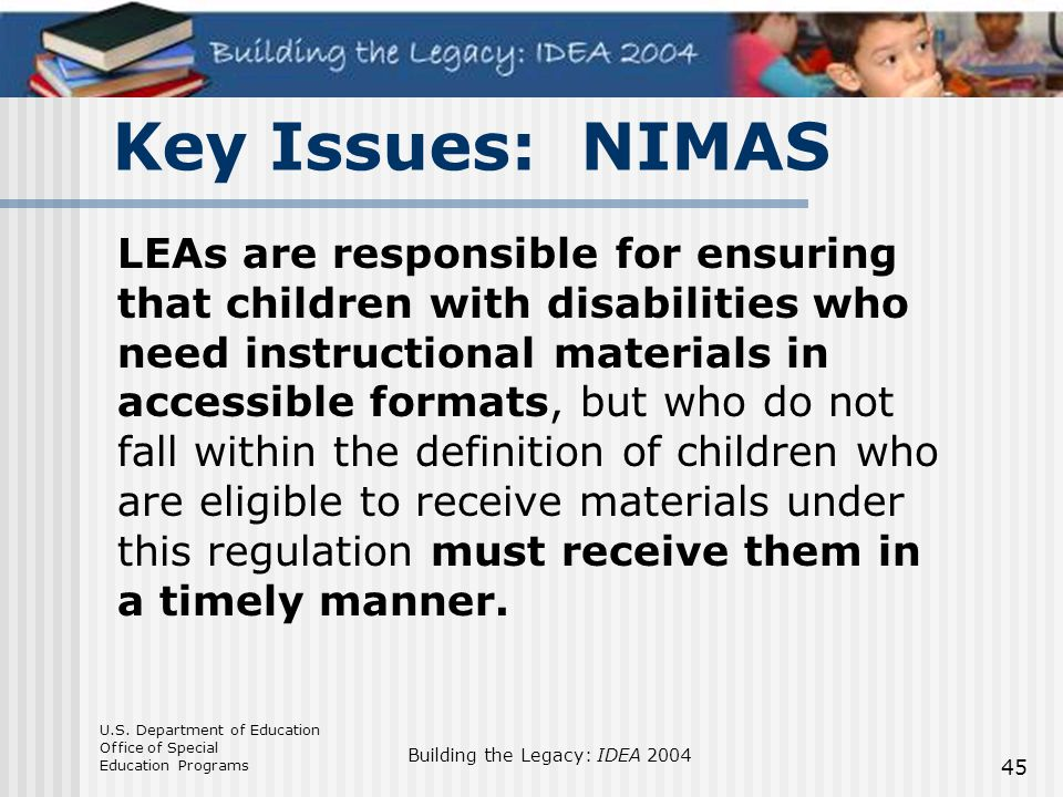 Key Issues: NIMAS