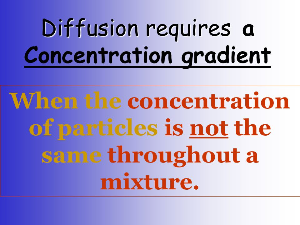 Diffusion requires a Concentration gradient
