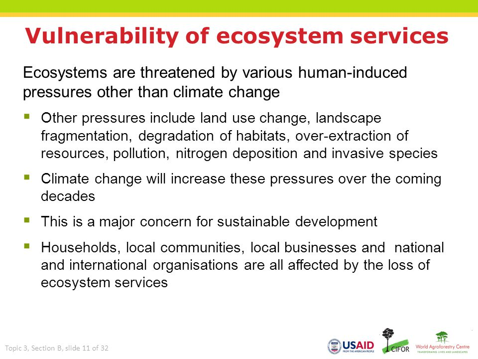 Vulnerability of ecosystem services