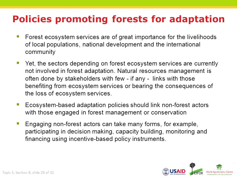 Policies promoting forests for adaptation