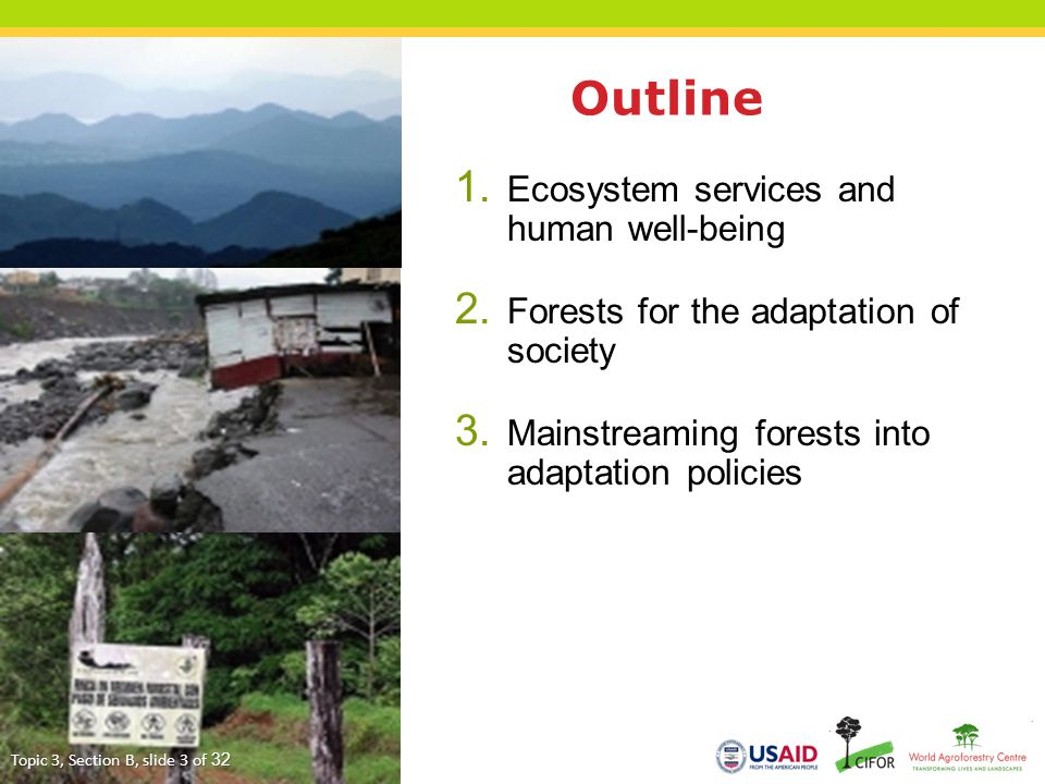 Outline Ecosystem services and human well-being