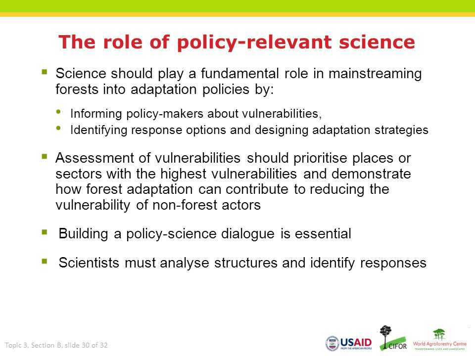 The role of policy-relevant science