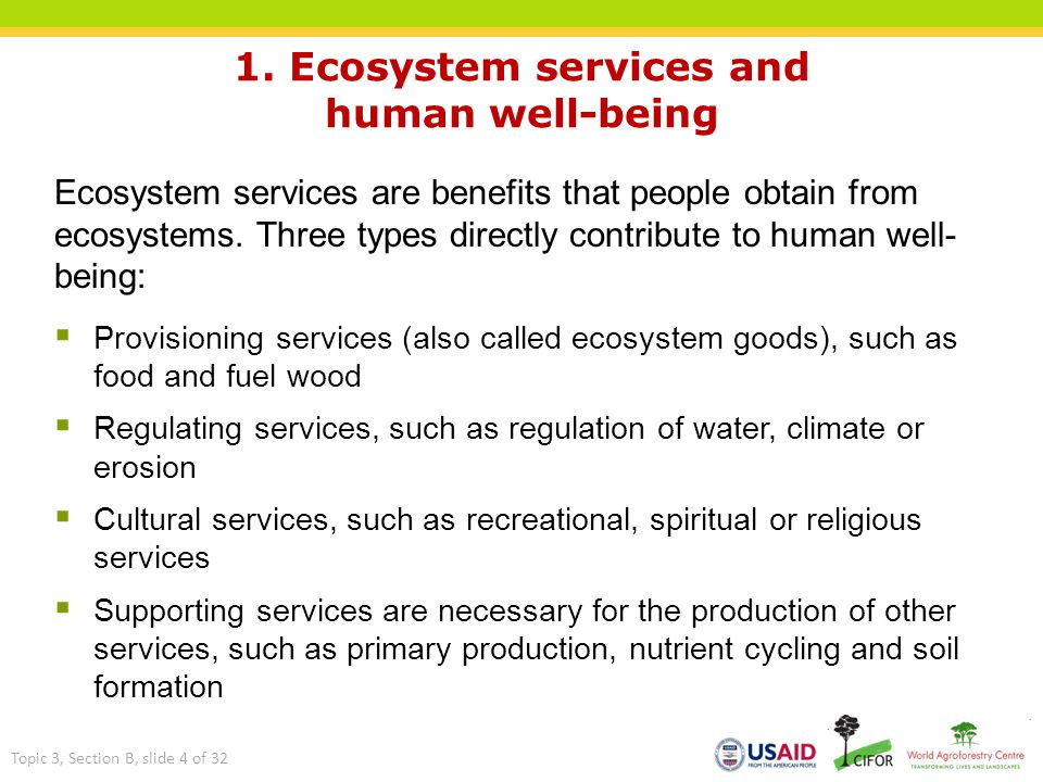 1. Ecosystem services and human well-being