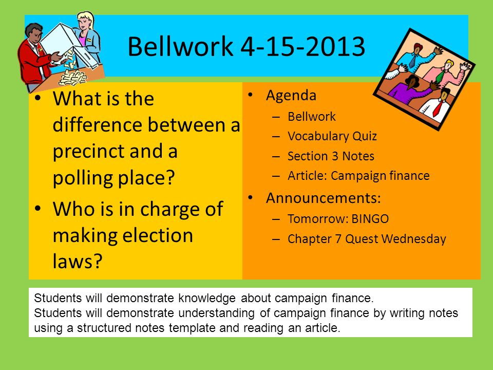 Bellwork 4-15-2013 What is the difference between a precinct and a polling place Who is in charge of making election laws