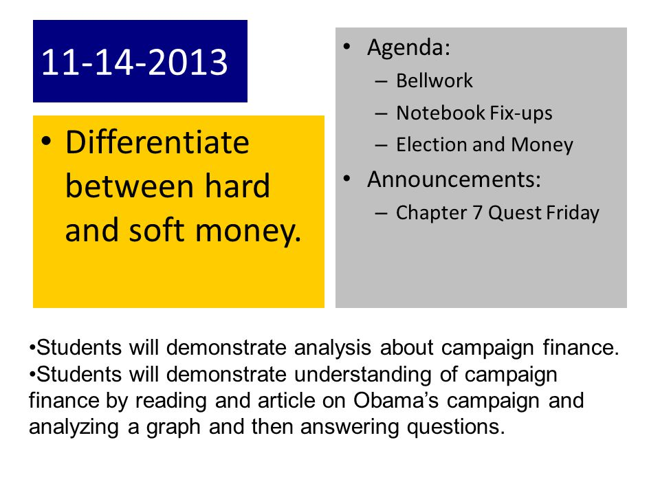 11-14-2013 Differentiate between hard and soft money. Agenda: