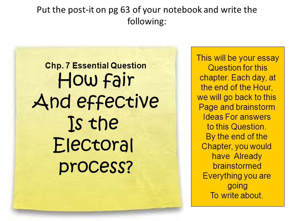 Put the post-it on pg 63 of your notebook and write the following: