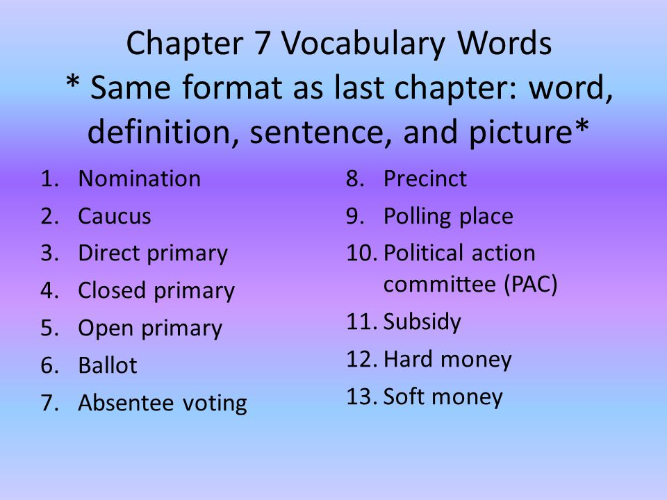 Chapter 7 Vocabulary Words