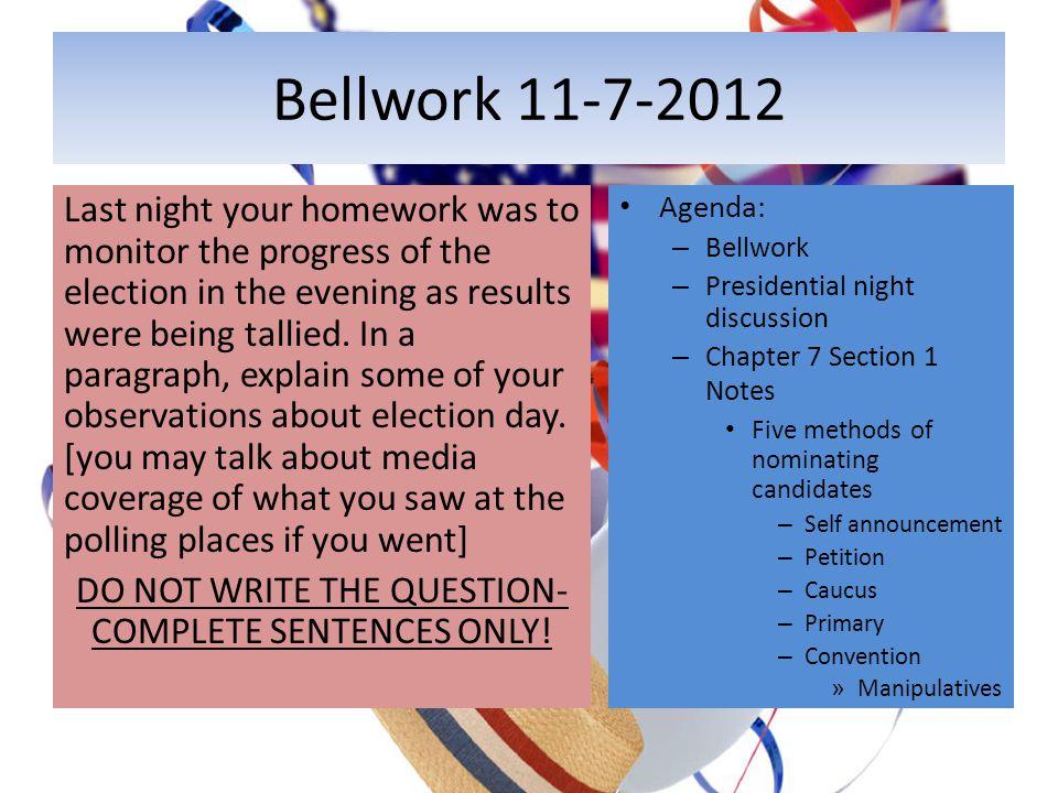 Bellwork 11-7-2012